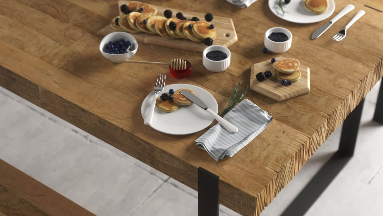 Hudson Dining Set | Natural Metal Wood Table Reclaimed Solid Wood Dining Table