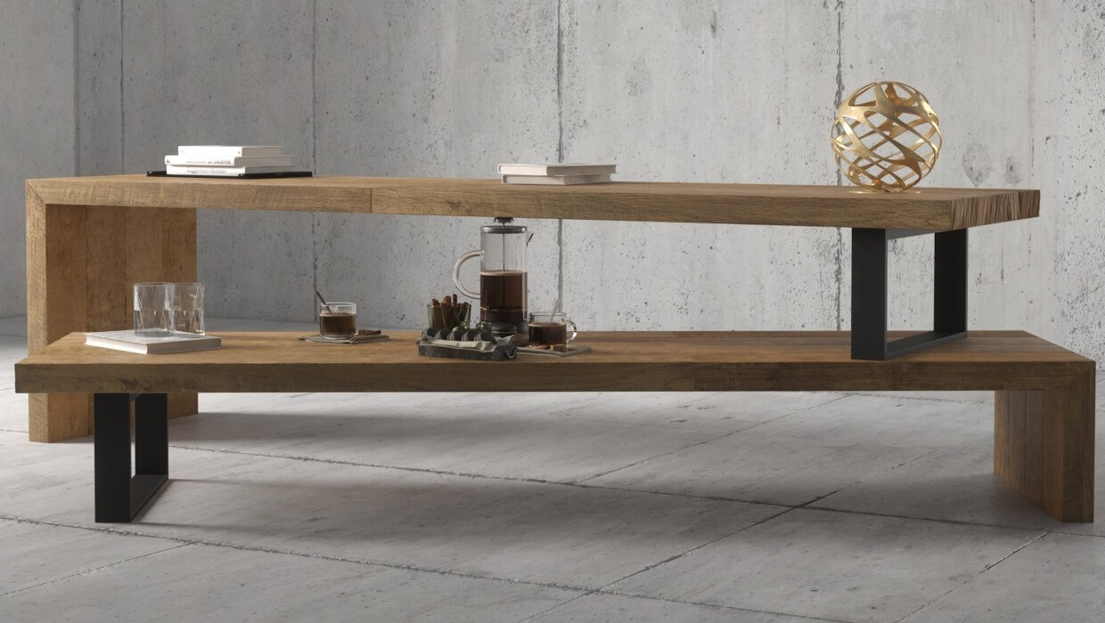 Soma TV Stand | Extendable Solid Wood Industrial TV Stand