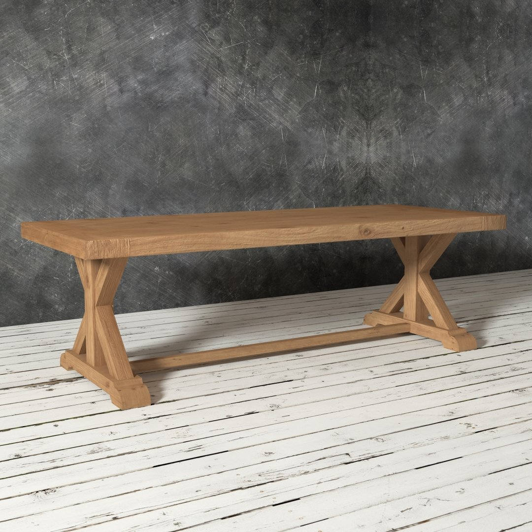 Urban Woodcraft | 98'' X-Base Dining Table in Antique Pine Wood 2
