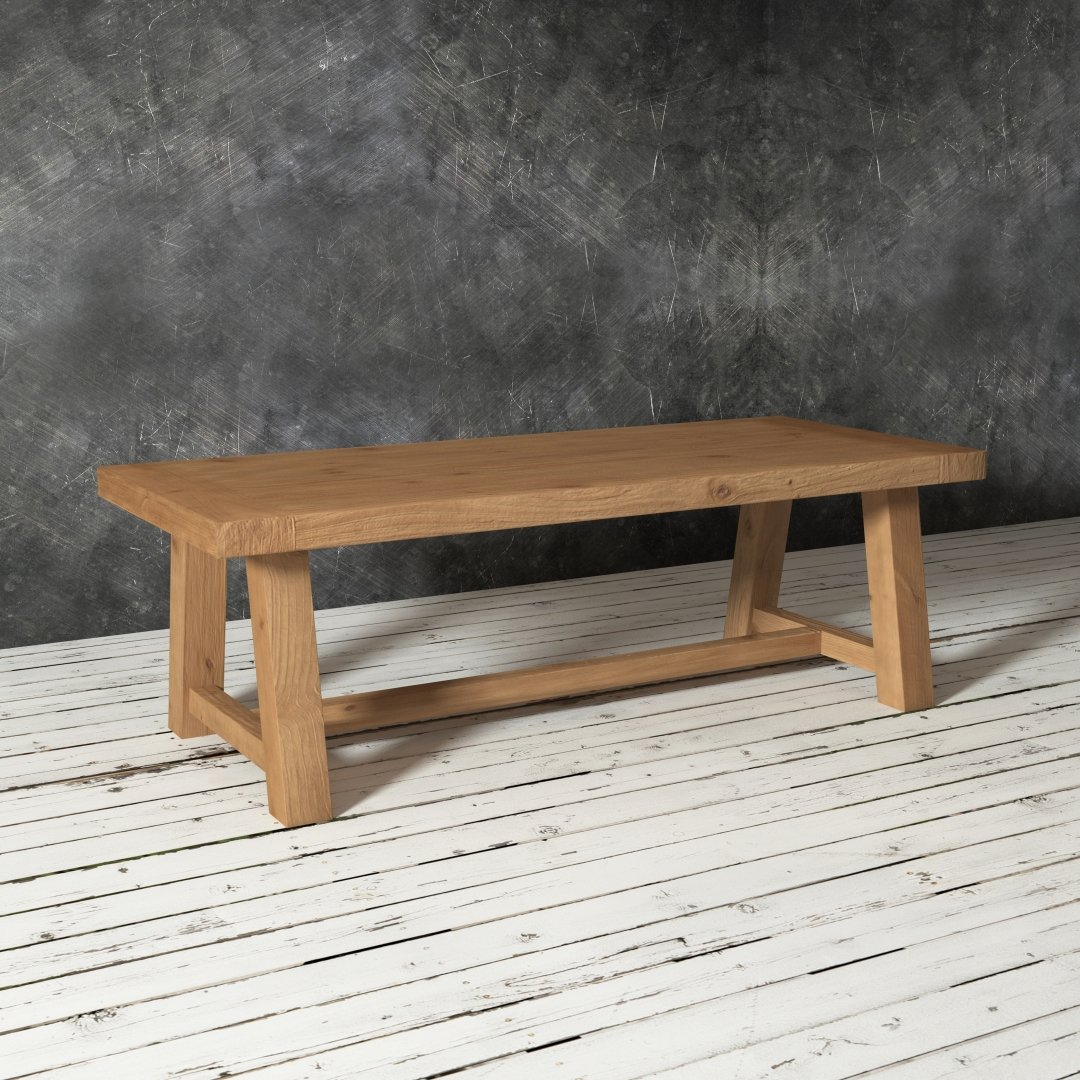 "Urban Woodcraft 98"" Farmhouse Dining Table with Antique Pine Finish"