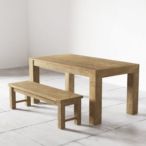 """60"""" Villa Dining Table and 50"""" Square Bench in Natural"""